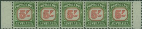 Postage Due SG D131a 5/- Carmine and deep Green strip of 5 s (AD1/8)